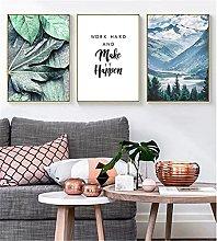 LILHXIU Nordic Poster Print Green Leaf Mountain
