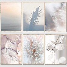 LILHXIU Nordic Poster Print Minimalist Leaf Canvas