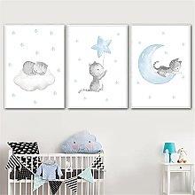 LILHXIU Nursery Wall Painting Blue Moon Star