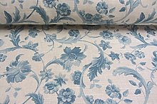 Lille Floral Scroll Toile French Linen Wedgewood
