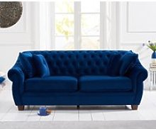 Lilly Chesterfield Blue Plush Fabric Three-Seater
