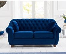 Lilly Chesterfield Blue Plush Fabric Two-Seater