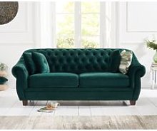Lilly Chesterfield Green Plush Fabric Three-Seater
