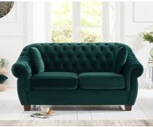 Lilly Chesterfield Green Plush Fabric Two-Seater