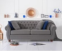 Lilly Chesterfield Grey Linen Fabric Three-Seater