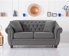 Lilly Chesterfield Grey Linen Fabric Two-Seater