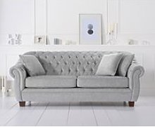 Lilly Chesterfield Grey Plush Fabric Three-Seater