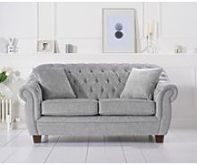 Lilly Chesterfield Grey Plush Fabric Two-Seater