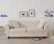 Lilly Chesterfield Ivory Linen Fabric Three-Seater