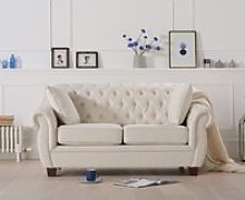Lilly Chesterfield Ivory Linen Fabric Two-Seater