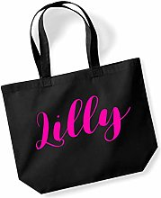Lilly Personalised Shopping Tote in Black Colour