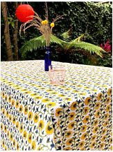 Lily King - Floral Hand Blocked Tablecloth -