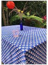 Lily King - Leaf Hand Blocked Tablecloth - Indigo