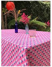 Lily King - Leaf Hand Blocked Tablecloth - Pink -