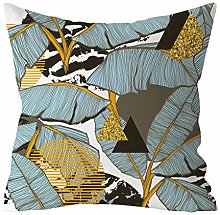 LILYYONG Green Leaf Printed Pillow Case Polyester