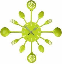 Lime Green Colour Cutlery Design Metal Wall Clock
