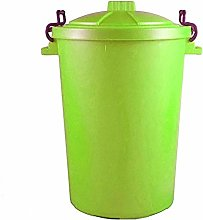 LIME GREEN OUTDOOR PLASTIC WASTE BIN, TRASH CAN,