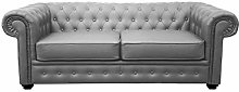 Limitless Home Chesterfield 2 Seater Grey Leather