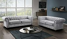 Limitless Home Chesterfield 3 + 2 Sofa Set In Grey