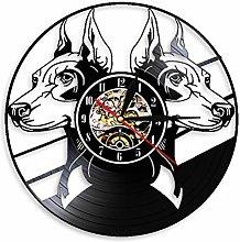 LIMN Record Wall Clock Doberman Pinscher