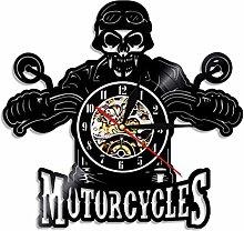 LIMN Record Wall Clock Motorcycle Biker Skull Wall
