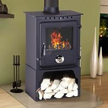 Lincsfire Reepham MultiFuel Fireplace Stove with Log Store 8KW High Efficiency Log Burner Wood