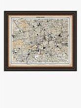Linda Wood - Central London Map Framed Print, 47.5