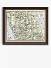 Linda Wood - Manhattan New York Map Framed Print,