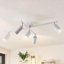 Lindby Ebardo ceiling light, five-bulb, white
