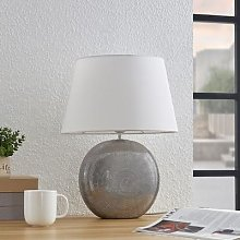 Lindby Florentino table lamp, fabric and ceramics
