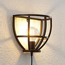 Lindby Rutger wall light with switch and plug