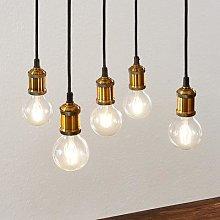Lindby Sevin pendant light, 5-bulb, wood