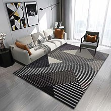Line geometry Multicoloured Cotton Rug for