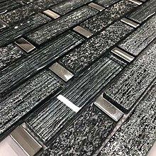 Linea Diamond Glass and Slate Mosaic Tiles Sheet