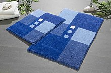 Linea Due bath rug, ultra soft and absorbent, anti slip, MERKUR, 2 pcs set 2 SET, blue