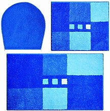 Linea Due bath rug, ultra soft and absorbent, anti slip, MERKUR, 3 pcs set with cut-out 3 SET, blue