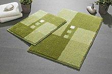 Linea Due bath rug, ultra soft and absorbent, anti slip, MERKUR, 2 pcs set 2 SET, green