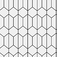 Linear Geometric Wallpaper Black White Tile Effect