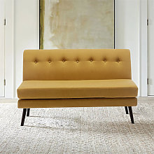 Linen 2-Layer Pad Buttoned 2 Seater Sofa, Yellow