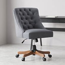 Linen Adjustable Swivel Office Chair Computer Desk