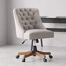 Linen Adjustable Swivel Office Chair Computer Desk