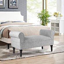 Linen Bed End Seat Ottoman Lounge Bench, Ash Grey