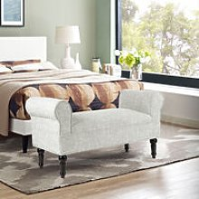 Linen Bed End Seat Ottoman Lounge Bench, Beige