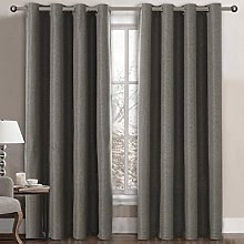 Linen Blackout Curtain 96 Inches Long for Bedroom
