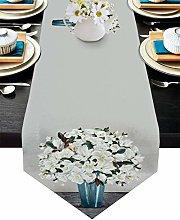 Linen Burlap Table Runner Dresser Scarves, White