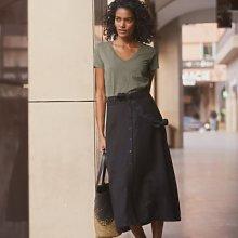 Linen Button-Front Skirt, Black, 6