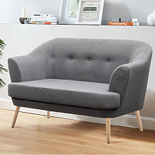 Linen Buttoned Tub 2 Seater Sofa, Grey