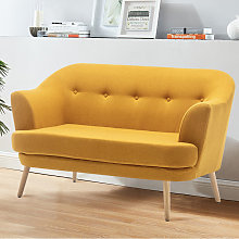 Linen Buttoned Tub 2 Seater Sofa, Yellow
