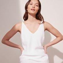 Linen Cami Top, White, 6