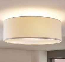 Linen ceiling light Mariat with a round lampshade